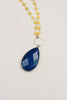 Yellow Jade and Blue Lapis Sterling Silver Tear Drop Necklace