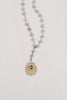 Blue Topaz & Matte Gold Pendant on Blue Quartz Rosary Bead Y Necklace