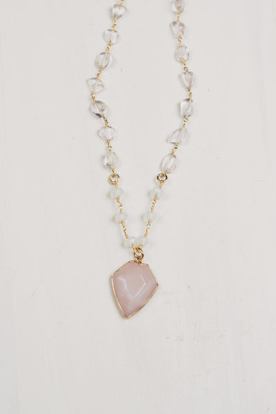 Large Rose Quartz Free Form Gemstone Necklace with Arrow Shaped Rose Quartz Pendant