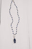 Blue Lapis with Pave Halo on Blue Lapis and Sterling Silver Necklace