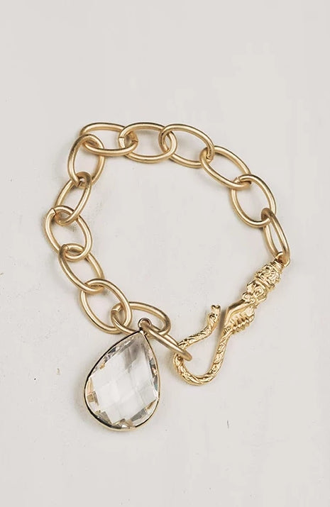 Matte Gold Bronze Chain with Ornate Hook Clasp and Large Crystal