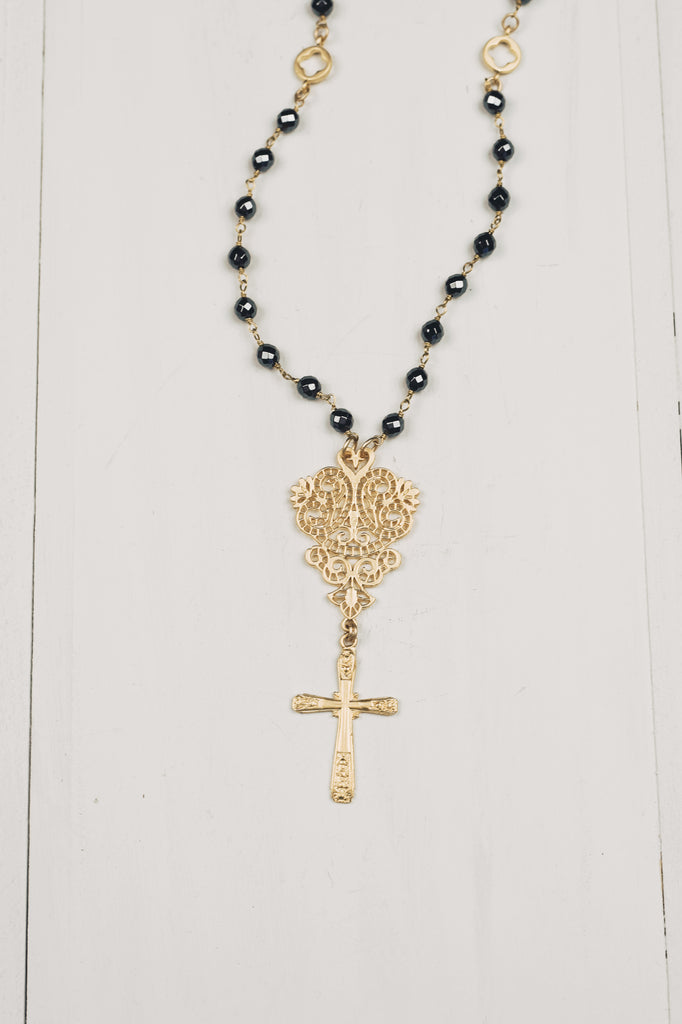 Matte Gold Filigree & Cross Pendant on Hematite Rosary Bead Chain