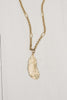 Matte Gold Plated Feather Pendant on Chain Necklace