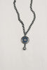 Pave Greek Evil Eye Necklace on Gunmetal Chain