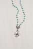 Turquoise Sterling Silver Rosary Chain Necklace with White Bronze Custom Cross