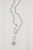 Pave Crystal SS Sun Pendant on Blue Jade Rosary Beads