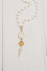 White Agate Necklace with Yellow Crystal Accent