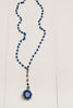 Royal Blue Jade and Hand Soldered Crystal on Antiqued Silver Rosary Chain