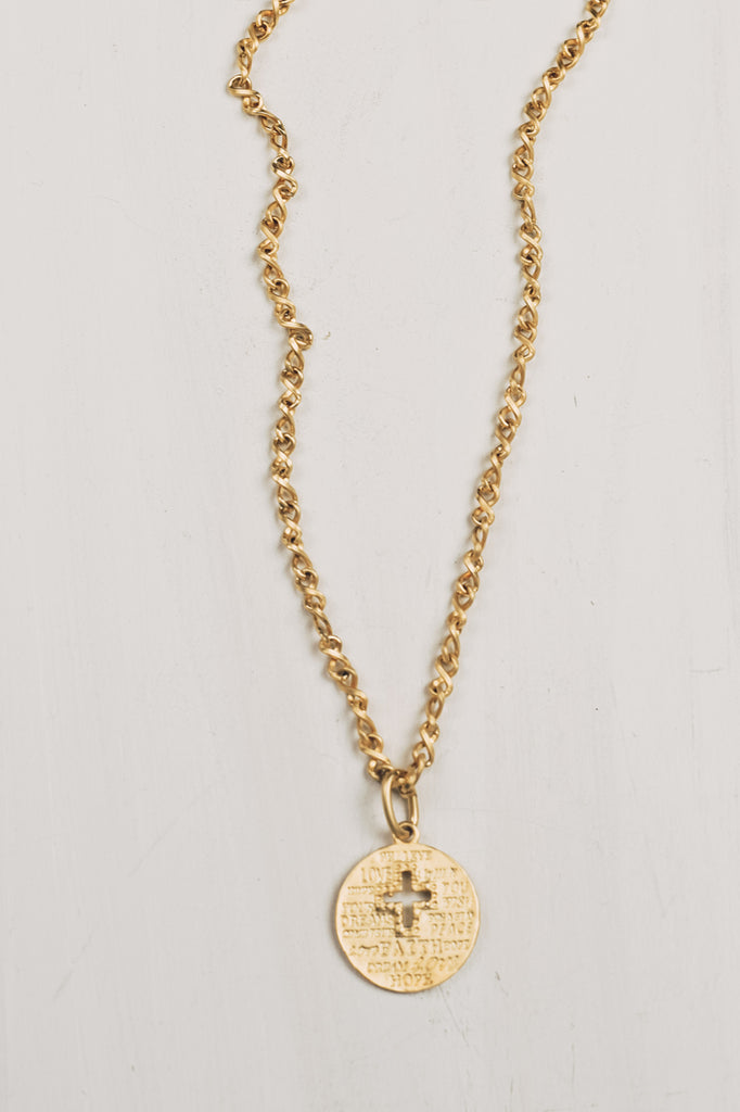 Matte Gold Cross Cutout Disc Necklace