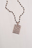 Rose Gold Abstract Pavé Pendant on Delicate Black Spinel Rosary Chain