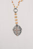 Pavé Cross Layered Pendant on Orange Agate & Silver Rosary Chain