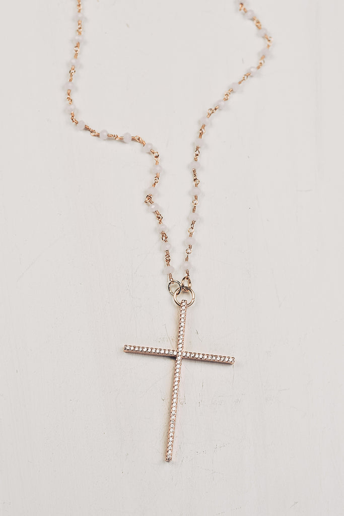 Delicate Rose Gold Cross Pendant on Rose Quartz Rosary Chain