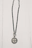 Grey Crystal Pave Pendant on Hematite & Crystal Chain