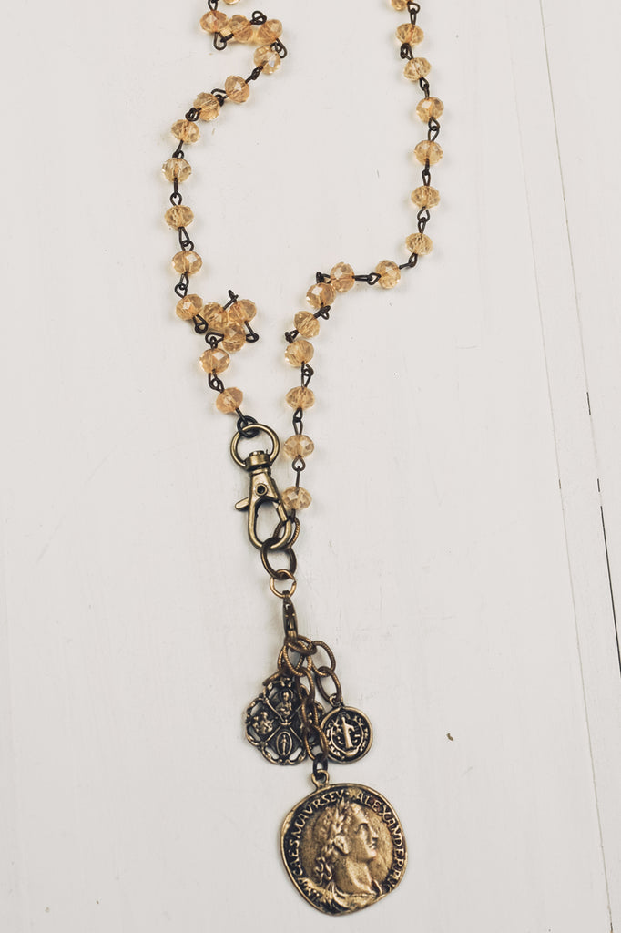 3 Bronze Coins on Peachy Opaline Crystal Rosary Chain Necklace