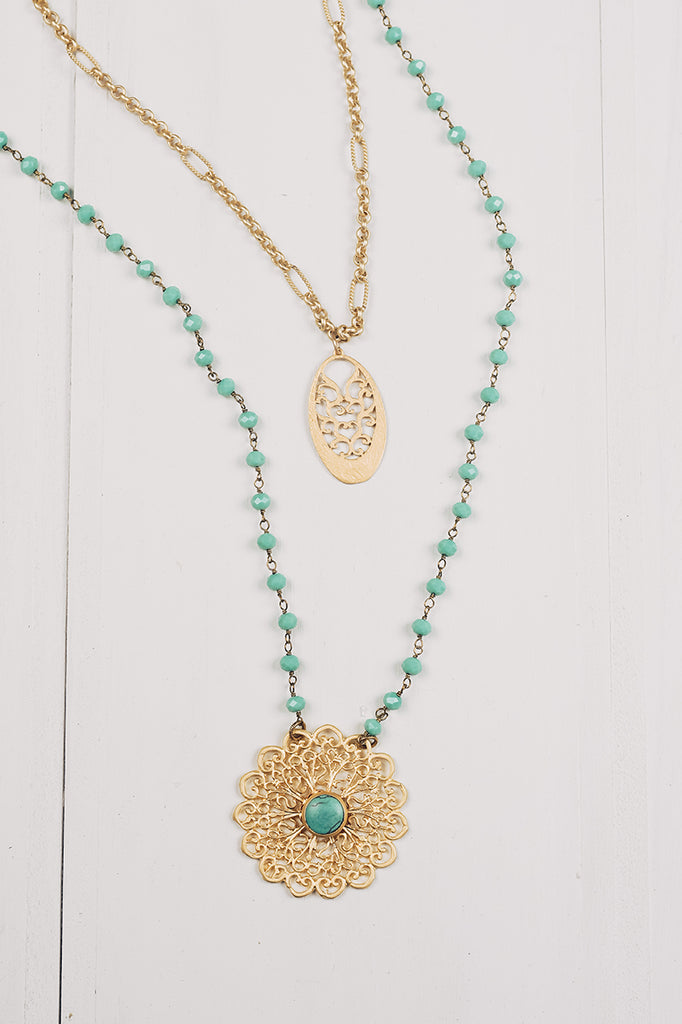 Matte Gold Pendant Double Layer Necklace on Turquoise Crystal Beads