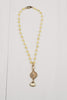 Short Yellow Quartz Necklace with Gold Pendant & Crystal Drop