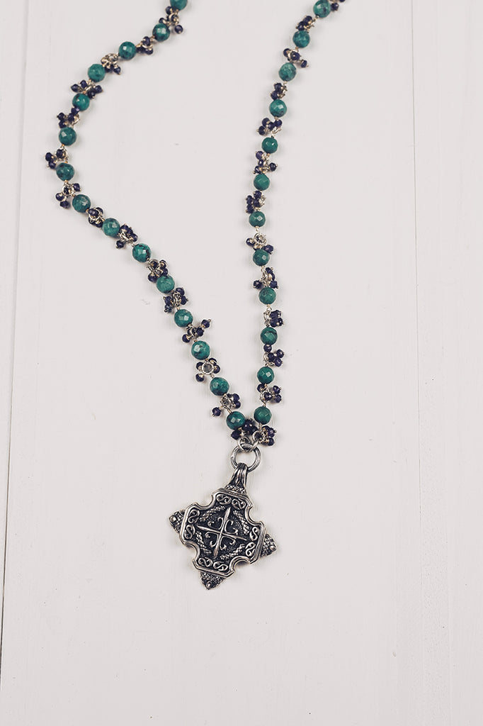 Sterling Silver Maltese Cross Pendant with Turquoise and Amethyst Beads