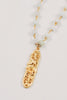 Gold Drop Pendant on Amazonite Rosary Beads