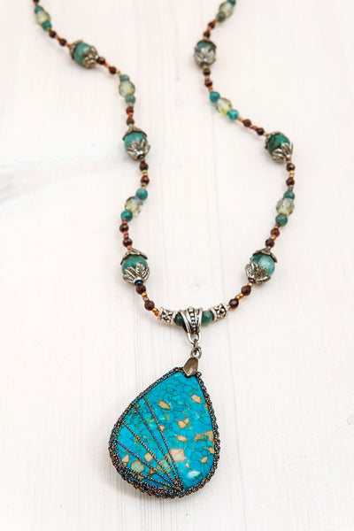 Turquoise Jasper Tear Drop Pendant with Kyanite and Garnet Beaded Necklace