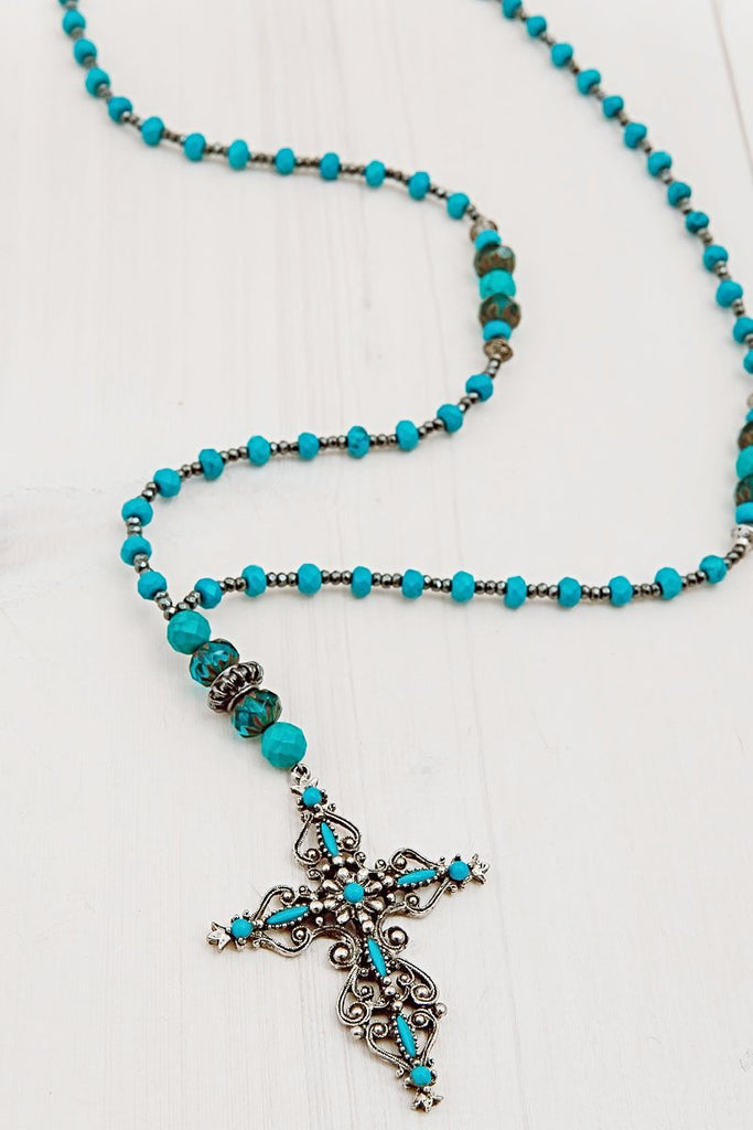 Roma Vintage Turquoise Cross on necklace of Turquoise, Hematite and Czech Beads
