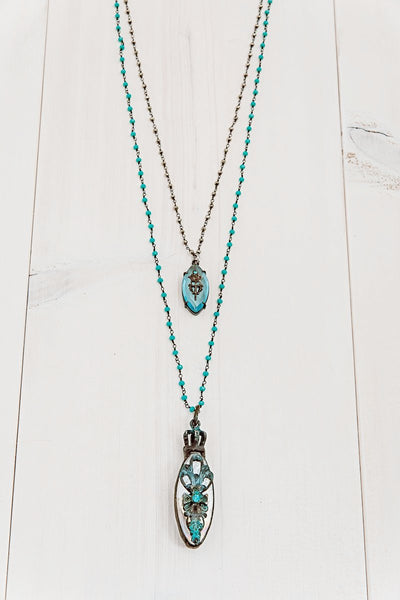 Hand Soldered Double Pendant Necklace on Rosary Chain of Blue Crystal and Hematite