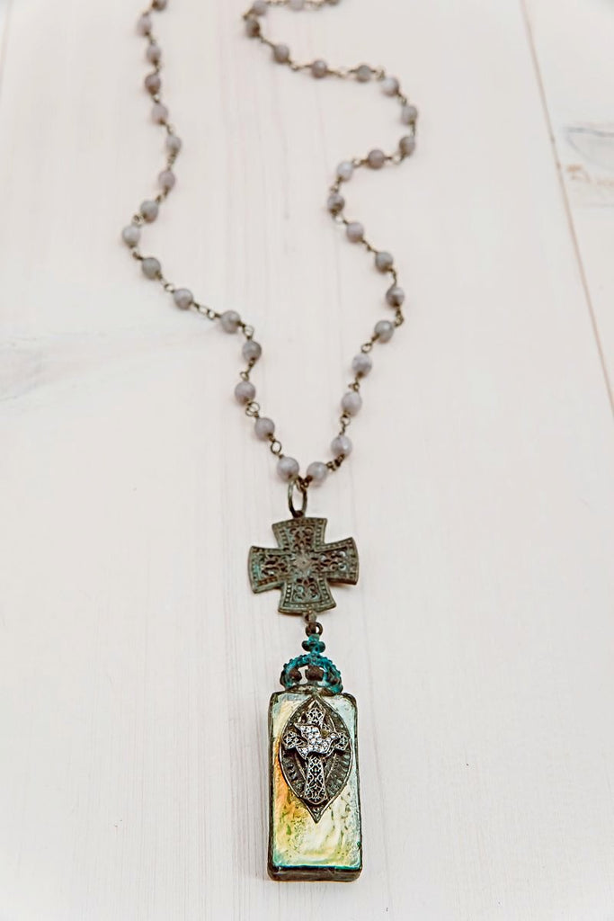 Hand Soldered Vintage Style Green Crystal Pendant with Large Cross and Dove on Agate Stone Rosary Chain