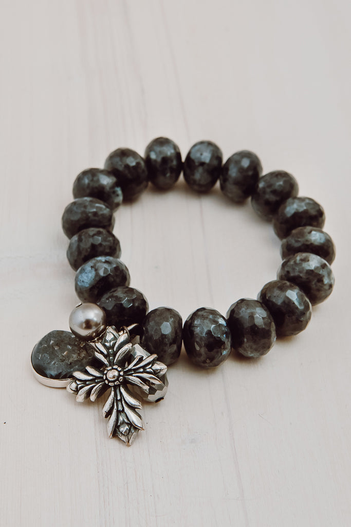 The GOGD Statement Collection - Bold Larvikite Black Charm Bracelet with Huge Silver Cross, Druzy and Crystal
