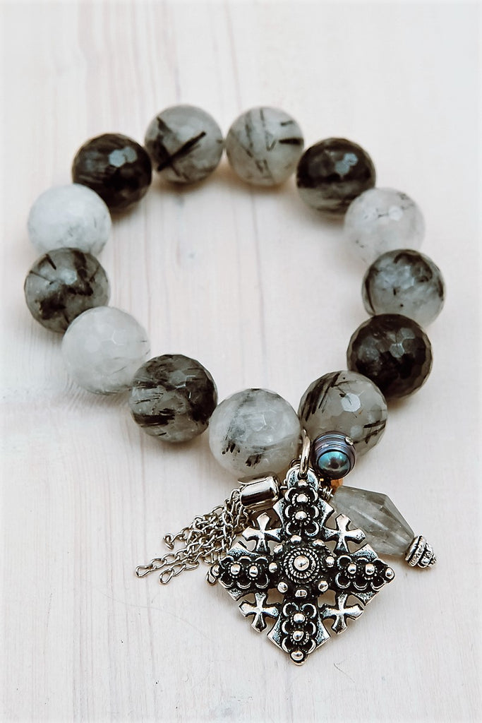 Statement Tourmalinated Quartz Charm Bracelet with Charms, Stones, and Pearls