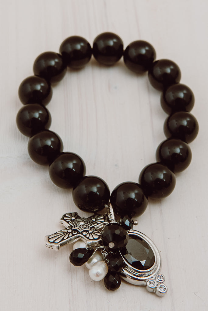Statement Black Agate Charm Bracelet with Faceted Drop, Crystals, Pearls and Cross