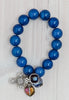 Statement Electric Blue Milky Jade Stretch Charm Bracelet with Cross and Crystals