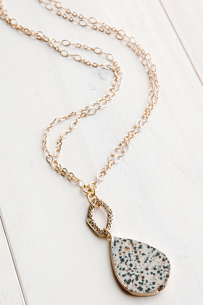 Contemporary Dalmatian Jasper Pendant on Double Gold Chain