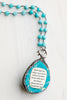 Sea Jasper Turquoise Blue Pendant with Crystal Border on Blue Jade Stone Rosary Chain with Scripture