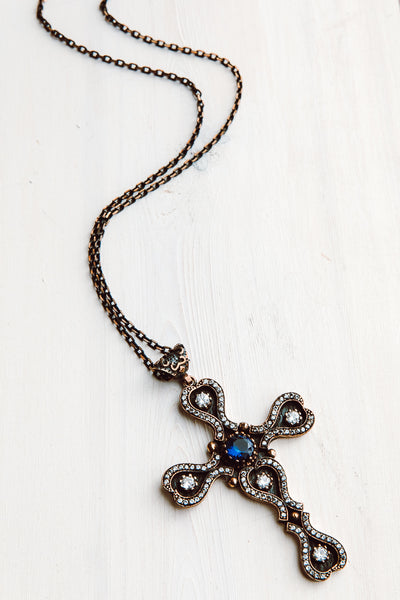 Scallop Shaped Turkish Sterling Silver Pectoral Cross with White Topaz and Blue Quartz on Two Tone Metal Chain