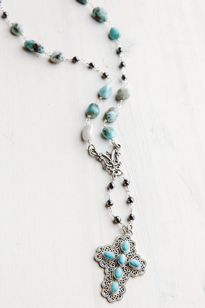 Blue Larimar, Sterling Silver and Hemitite Cross Y Necklace