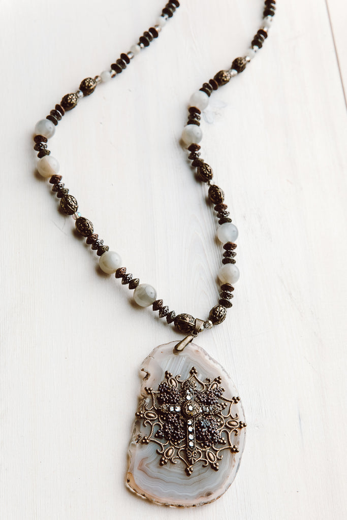 Ornate Hand Embellished Agate Cross Pendant on Gray Moonstone and Ornate Beaded Necklace