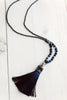 Navy Blue Crystal Tassel Necklace of Pyrite and Sodalite Beads