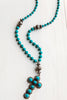 Bold Turquoise Sterling Pendant on Turquoise Beaded Necklace
