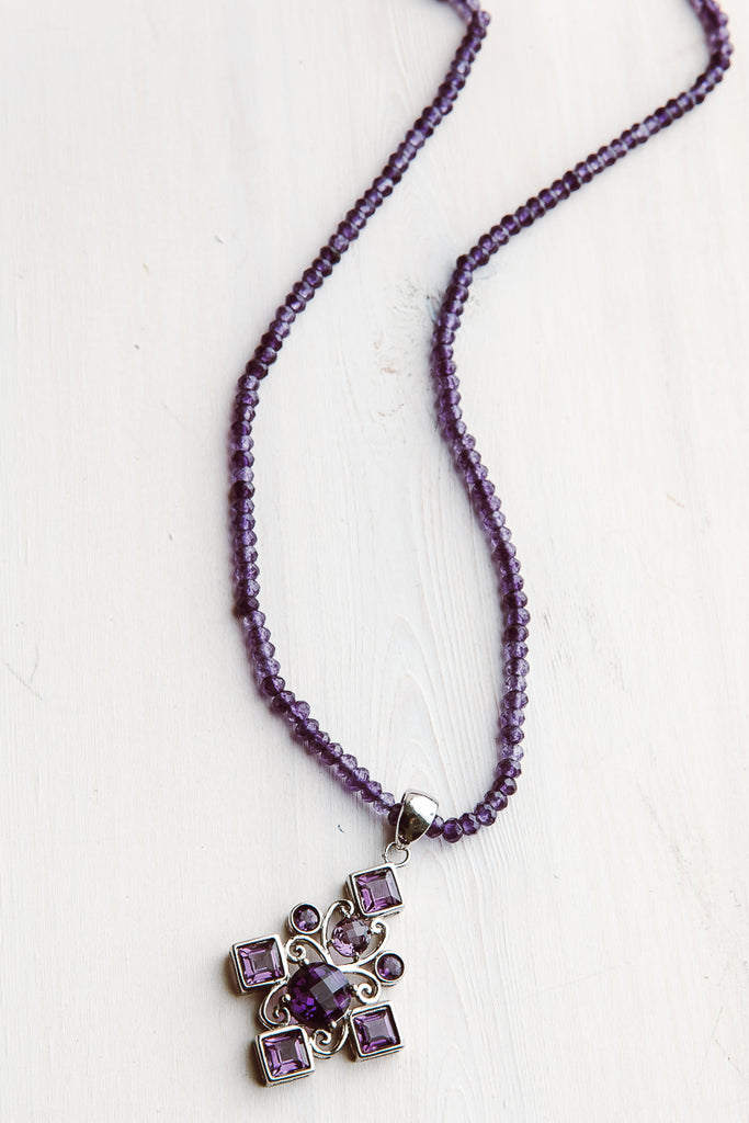 Sterling Silver Amethyst Cross Pendant on Amethyst Faceted Beaded Necklace