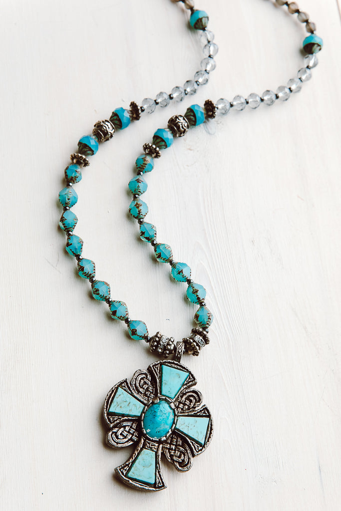 "Vintage Collectible Irish ""Miracle"" Cross Pendant on Hand Strung Czech Glass Bead Necklace"