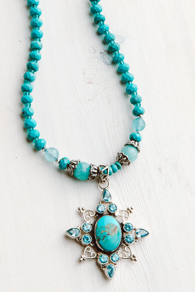 Sterling Silver Cross Starburst Turquoise and Blue Topaz on Turquoise Beaded Necklace