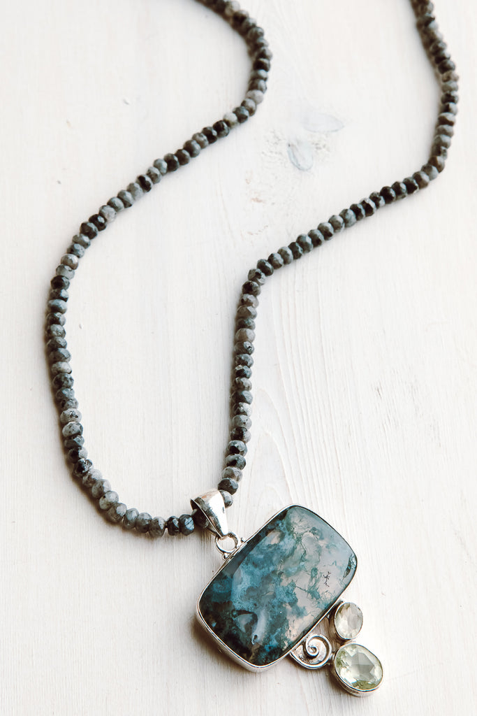 Sterling Silver Moss Agate and Green Amethyst Pendant on Faceted Larvikite Beaded Necklace