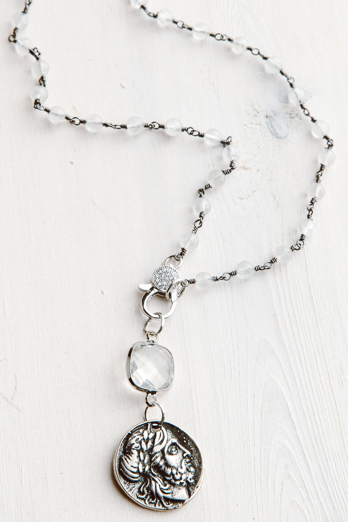 Rosary Chain White Chalcedony Short Necklace with Pavé Clasp and Crystal & Ancient Coin