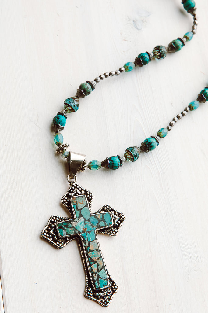 Tibetan Silver Turquoise Cross on Turquoise and Czech Beaded Long Necklace