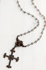 Scroll Design Dark Brown Bronze Cross Pendant on Smoky Quartz and Gunmetal Silver Rosary Chain