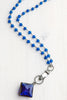 Cobalt Blue Soldered Pendant with Hand Drop on Cobalt Blue Quartz and Gunmetal Silver Rosary Chain Necklace