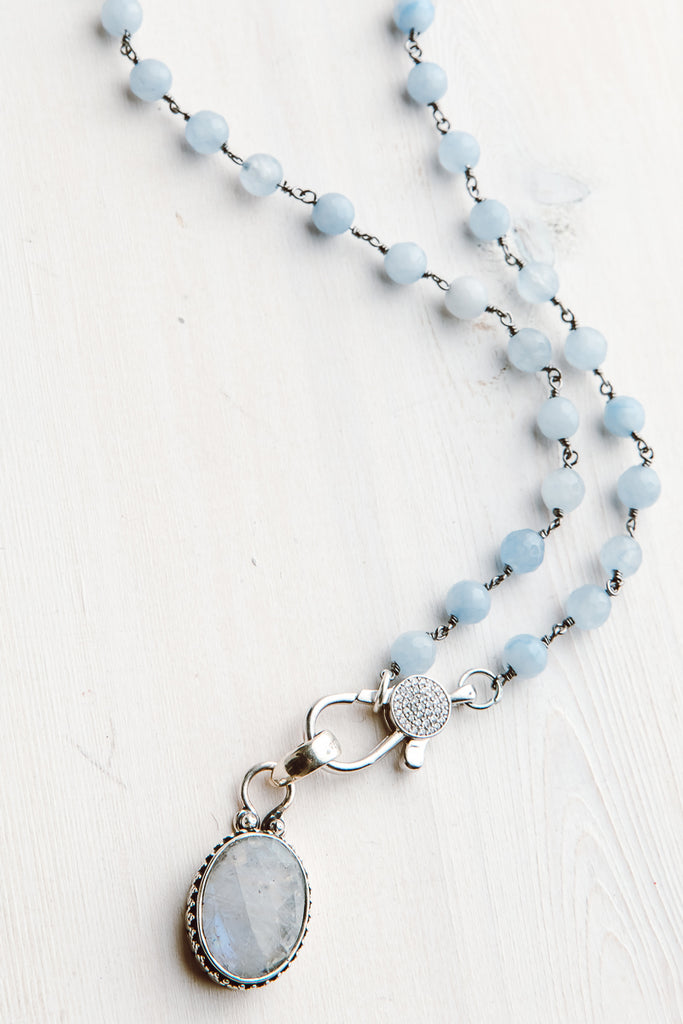 Faceted Moonstone in Sterling Silver Bezel Pendant on Short Necklace of Pale Blue Quartz Sterling Silver Rosary Chain