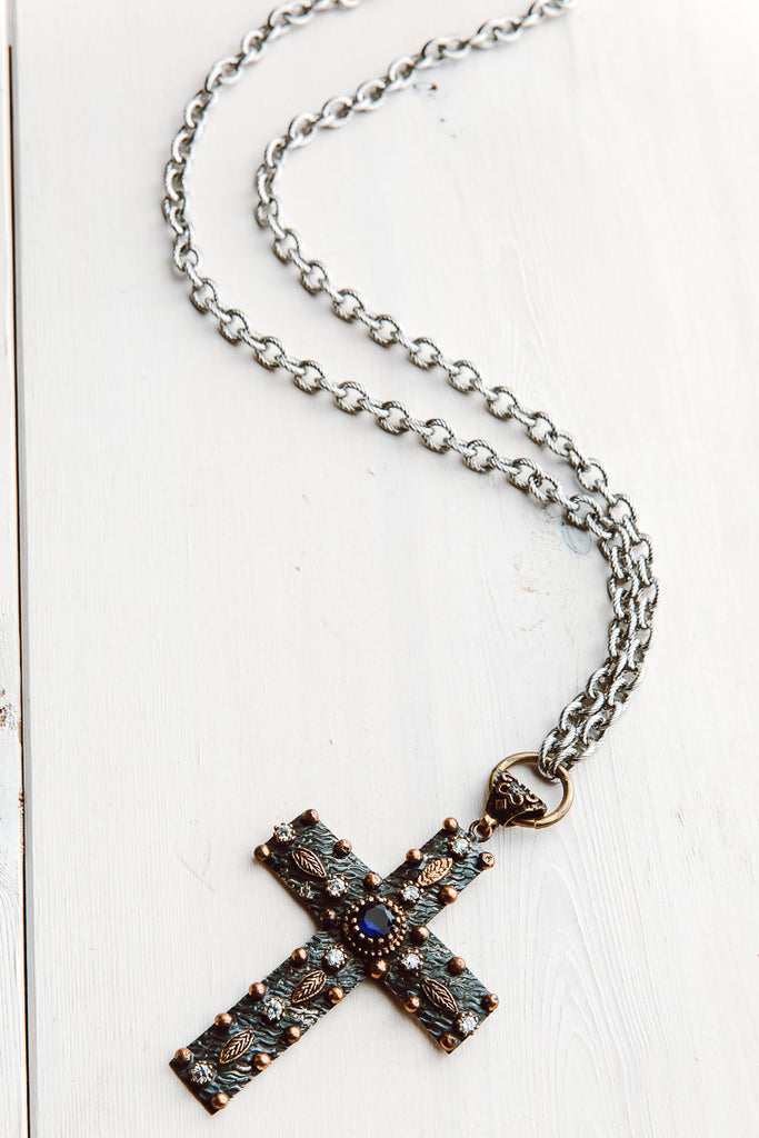 Turkish Sterling Silver Pectoral Cross with Blue Quartz and Topaz Stones on Silver Chain
