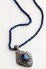 Bali Style Diamond Shaped Blue Quartz Filigree Pendant on Beaded Blue Jade Necklace