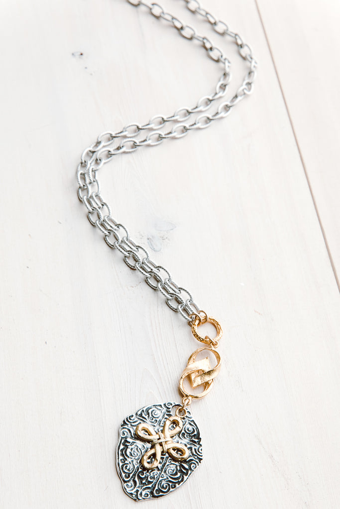 Silver and Matte Gold Cross Necklace on Silver Loop Metal Chain Modern Christian Style