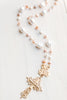 Lustrous Pink and White Large Freshwater Pearl Rosary Chain with Matte Gold Bail and Decorative Filigree Cross